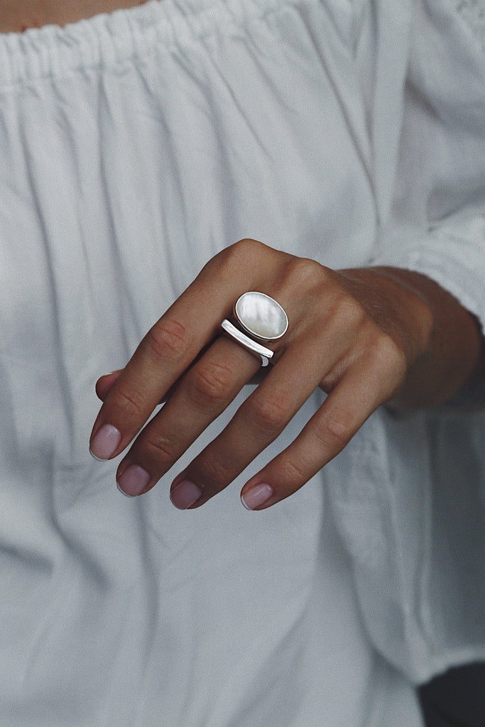 Mother of Pearl Cloud Ring - Island Soul Silver Jewelry from Bali