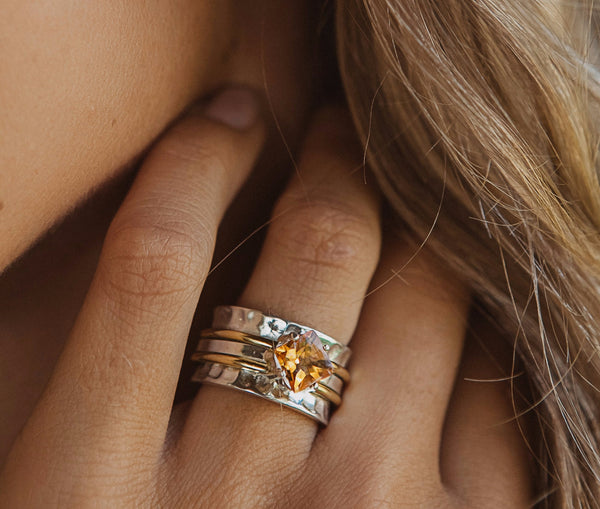 Island Soul Jewelry Silver Ring Mechanism with Citrine and Two Copper Rings
