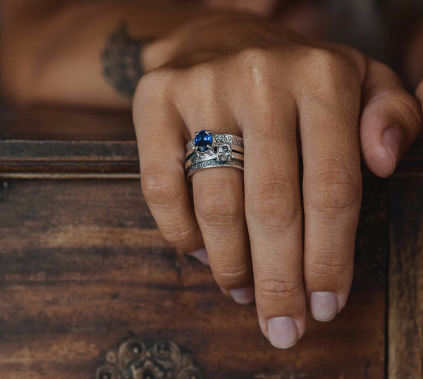 Ring Mechanism with Sapphire and White Topaz - Island Soul Silver Jewelry from Bali