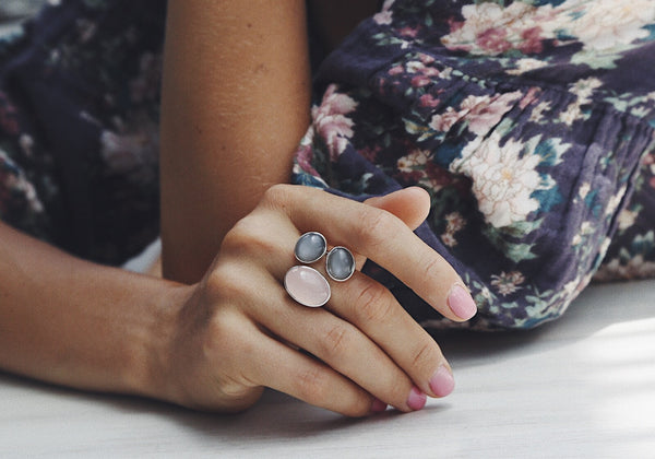 Ring with Rose Quartz and Gray Moonstones - Island Soul Silver Jewelry from Bali