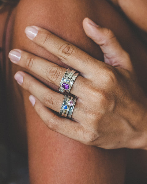 Amethyst and White Topaz Ring Mechanism - Island Soul Silver Jewelry from Bali
