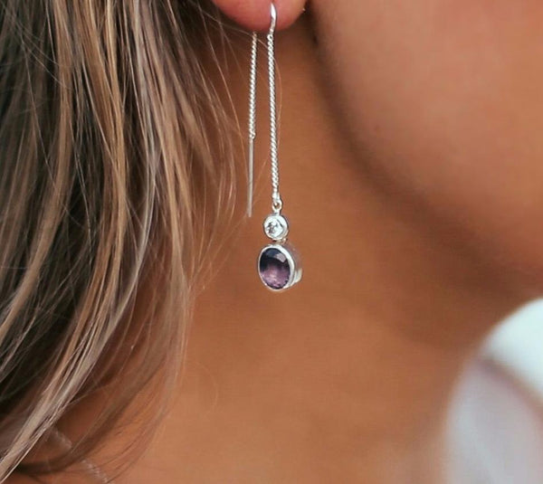 Earrings with Amethyst and White Topaz - Island Soul Silver Jewelry from Bali