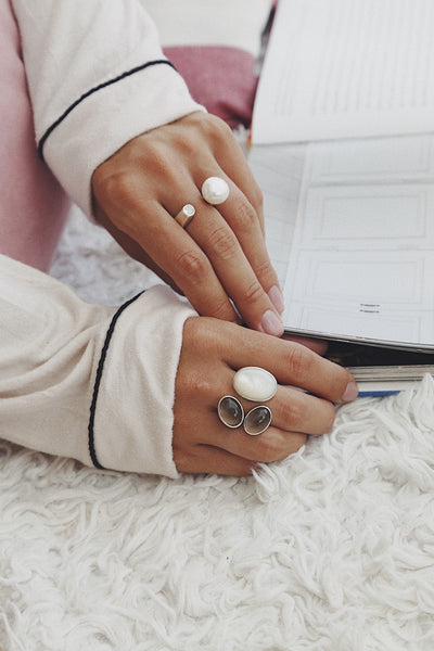 Ring with Mother of Pearls and Smoky Quartzes - Island Soul Silver Jewelry from Bali