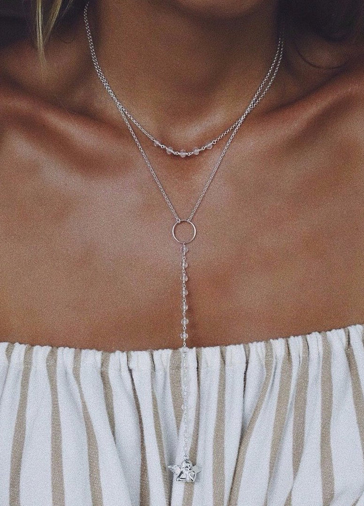 Double Tie with Rose Quartz and Angel - Island Soul Silver Jewelry from Bali