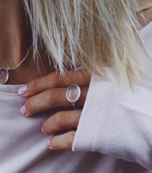 Oval Rose Quartz Ring - Island Soul Silver Jewelry from Bali