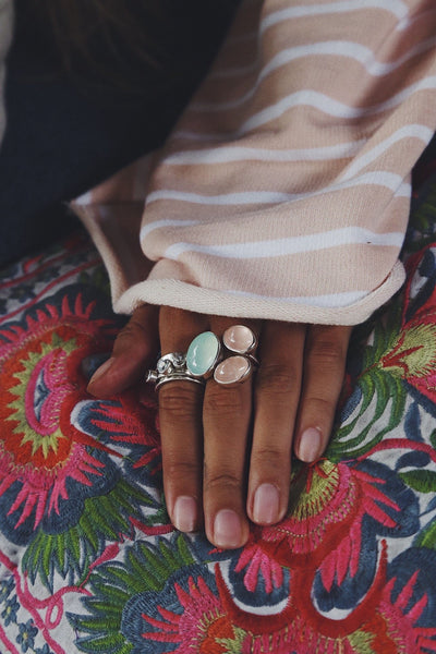 Ring with Maldives Сhalcedony and Rose Quartzes - Island Soul Silver Jewelry from Bali