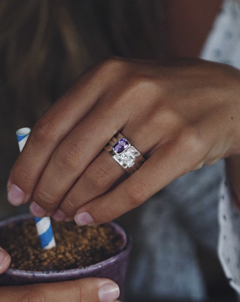 Amethyst and White Topaz Mechanism Ring - Island Soul Silver Jewelry from Bali