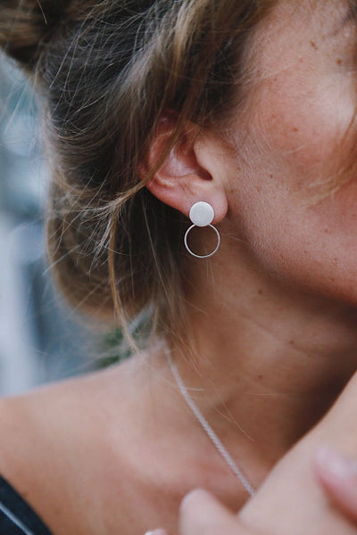 Earrings with Two Rounds - Island Soul Silver Jewelry from Bali