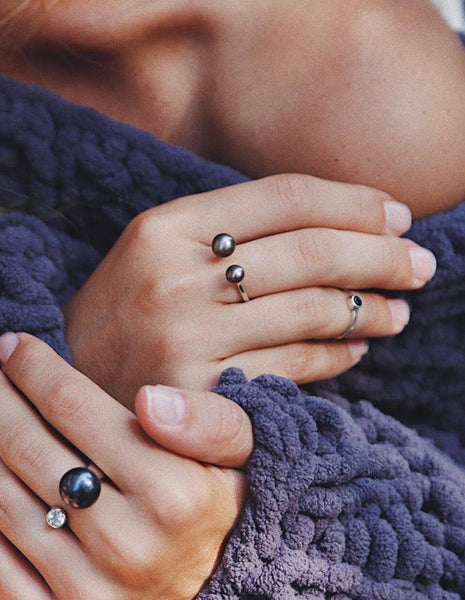 Black Unlined Pearls Ring - Island Soul Silver Jewelry from Bali