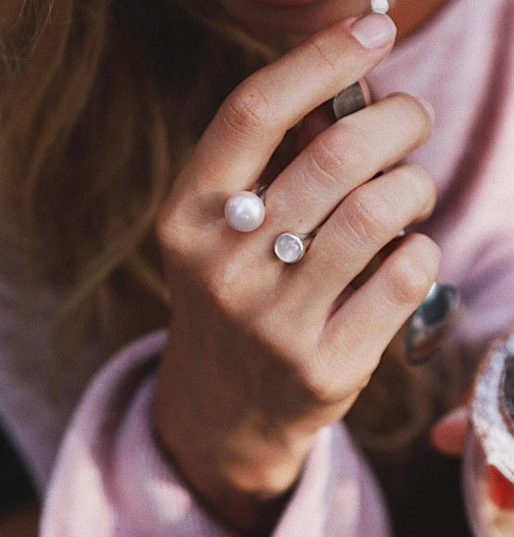Rose Pearl and Rose Quartz Ring
