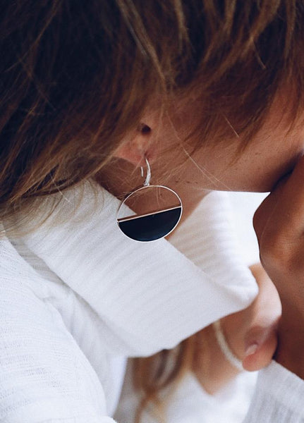 Black Mother of Pearl Half Round Earrings - Island Soul Silver Jewelry from Bali