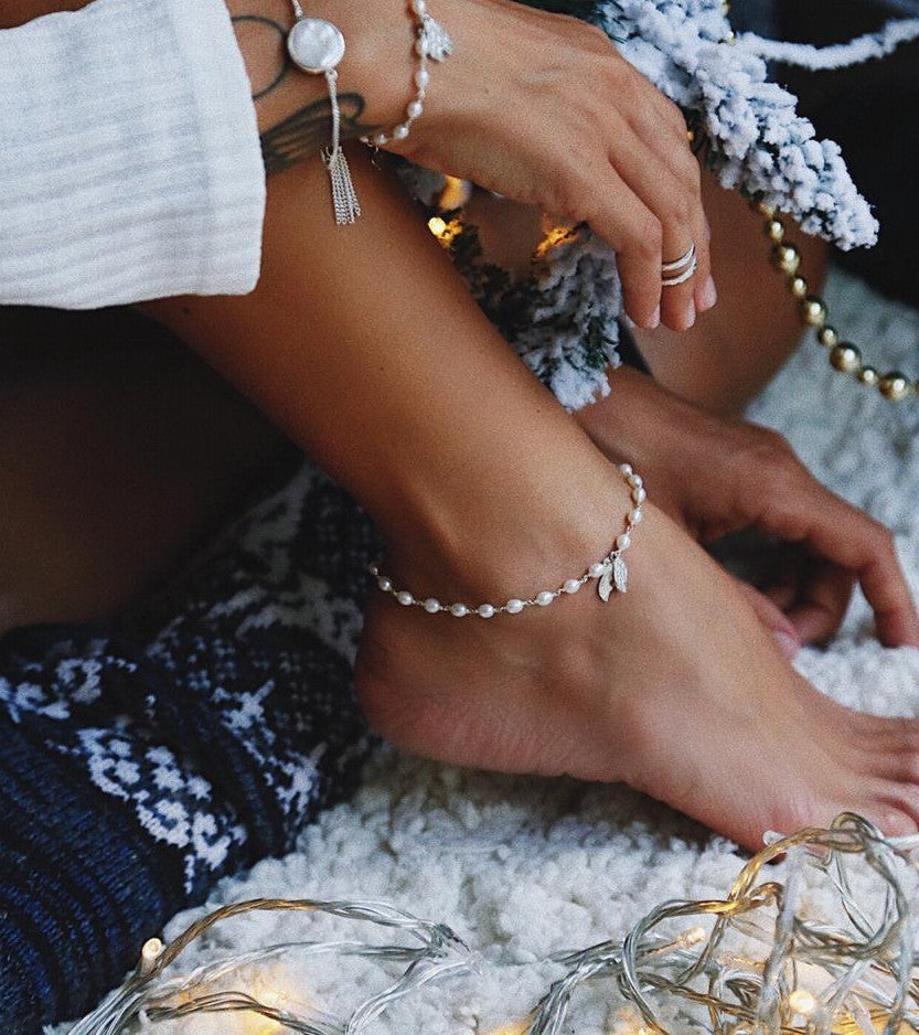White Pearls and Silver Wings Anklet - Island Soul Silver Jewelry from Bali