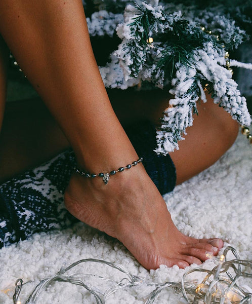 Black Pearls and Silver Wings Anklet - Island Soul Silver Jewelry from Bali