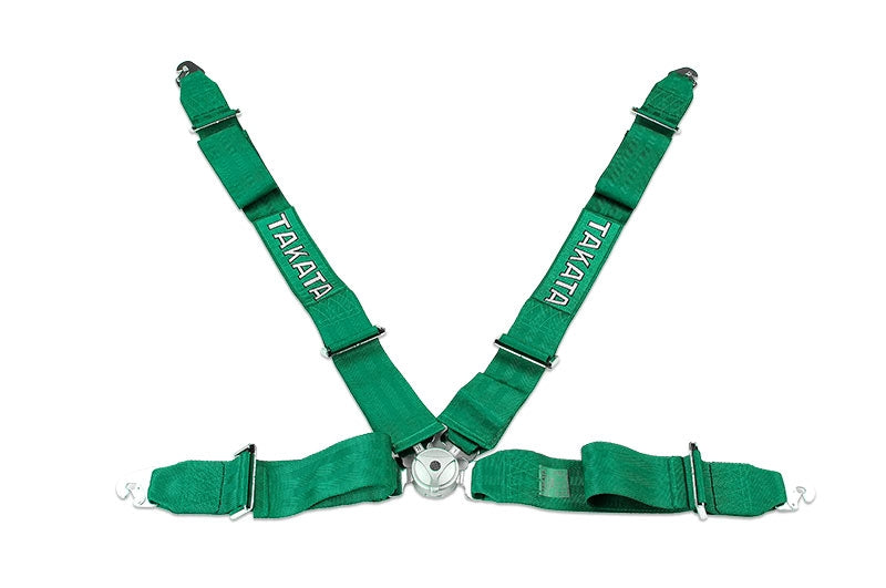TAKATA SEAT BELT HARNESS: RACE 4-POINT SNAP-ON (BLACK OR GREEN)