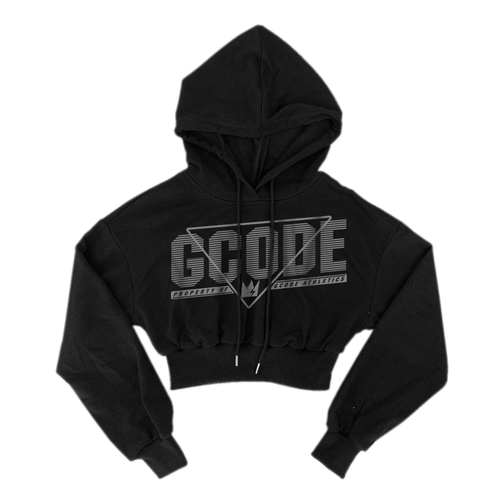 GCode Athletics Ladies Retro Crop Hoodie (Black)