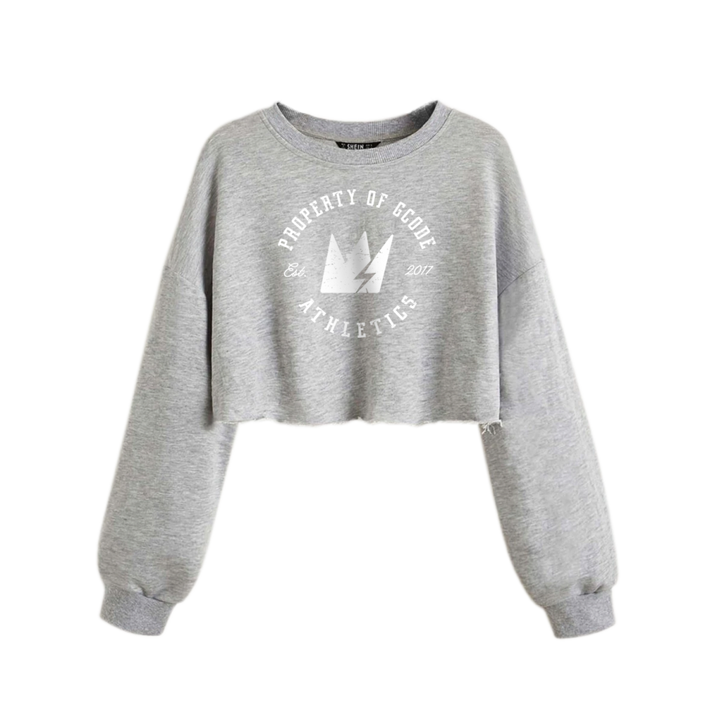 GCode Athletics Ladies Crop Top Sweatshirt (Heather Grey)