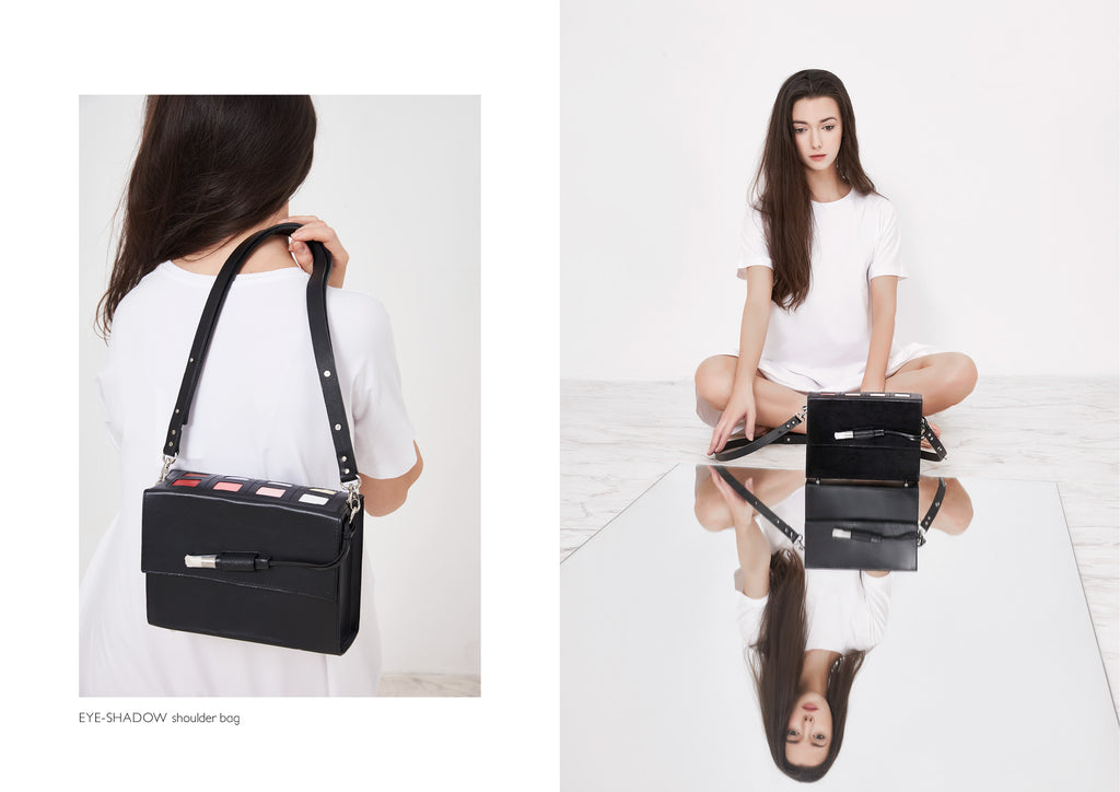 Dream's Code black eyeshadow leather shoulder bags with make up details