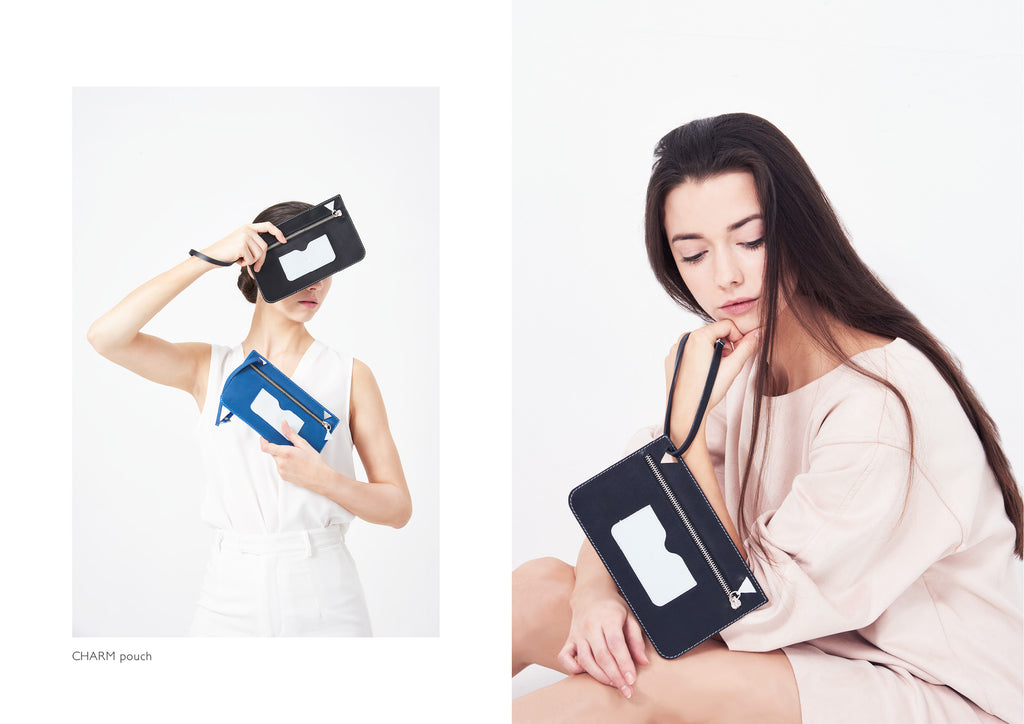 Dream's Code electric blue and black leather pouches with white details