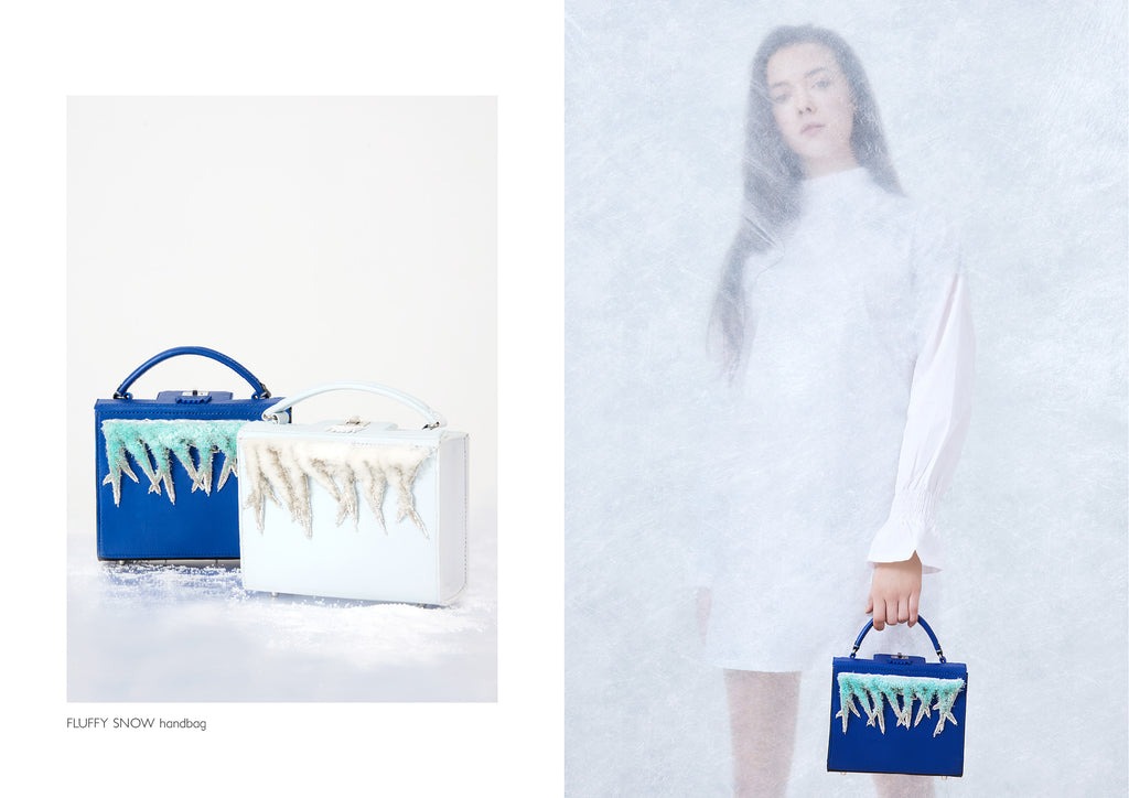 Dream's Code electric and light blue leather handbags/ box bags with handmade 3D fluffy snow ice embroidery
