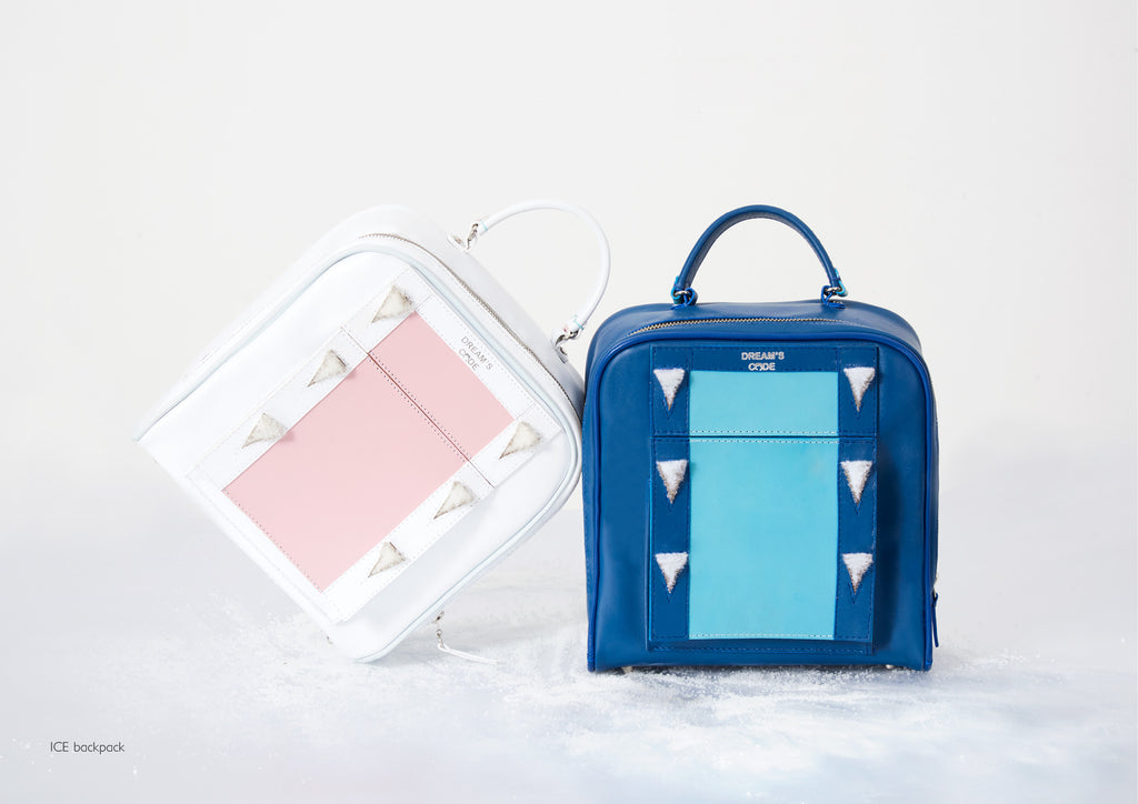 Dream's Code electric blue and white backpacks with handmade 3D ice spike embroidery