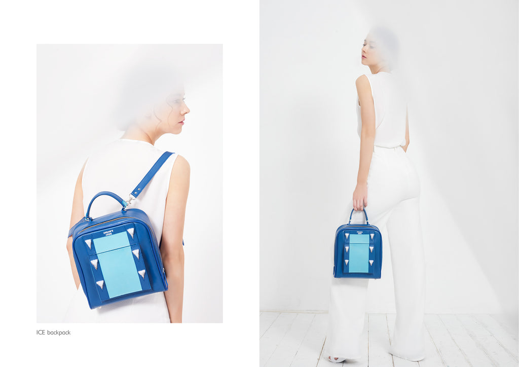 Dream's Code light and electric blue backpack with handmade ice spike 3D embroidery