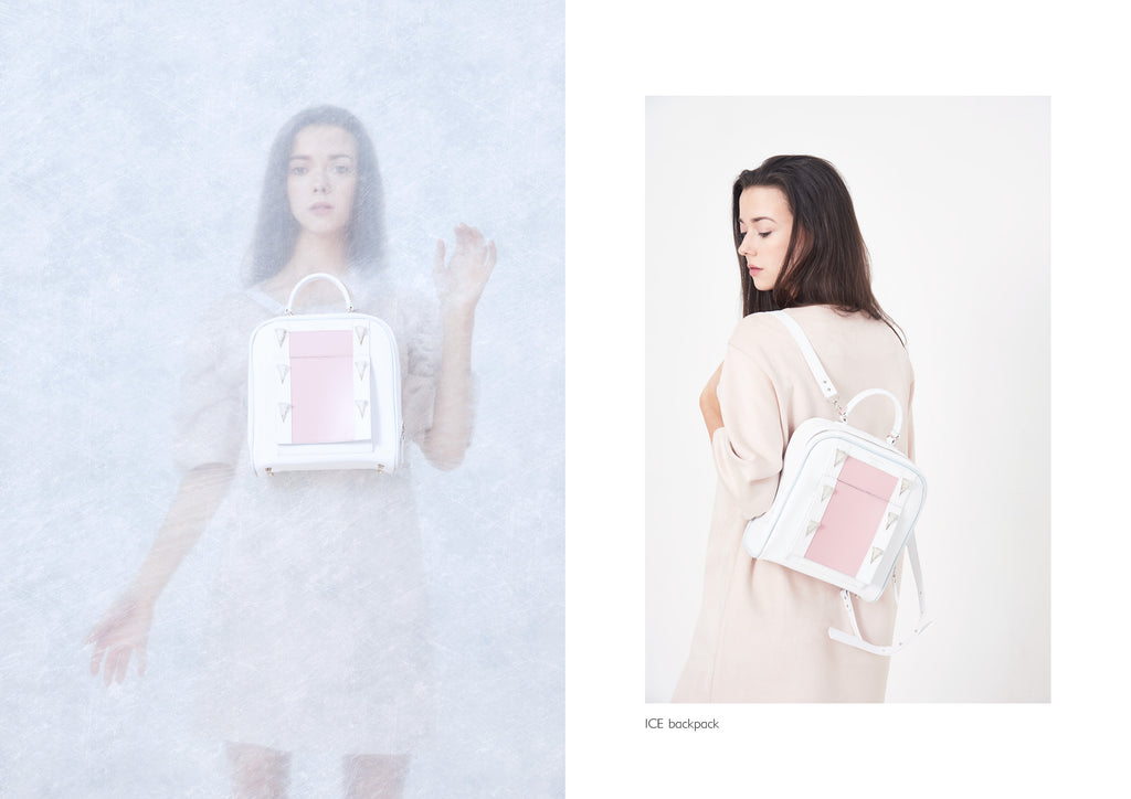 Dream's Code white and pink backpack with handmade ice spike 3D embroidery