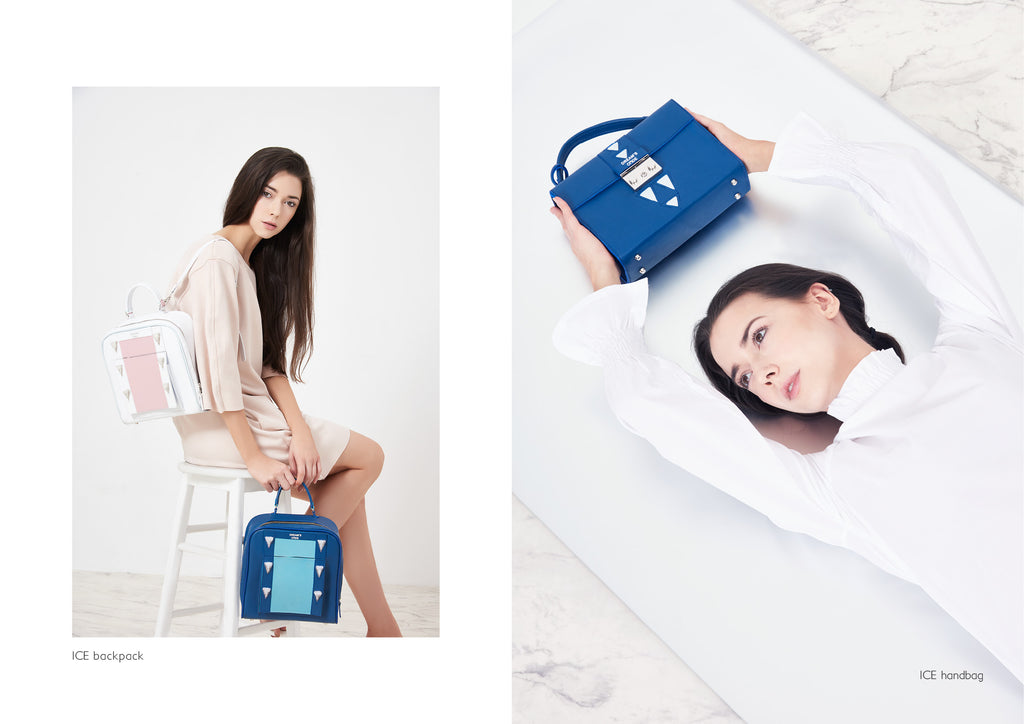 Dream's Code white and blue leather ice backpacks + electric blue leather handbag