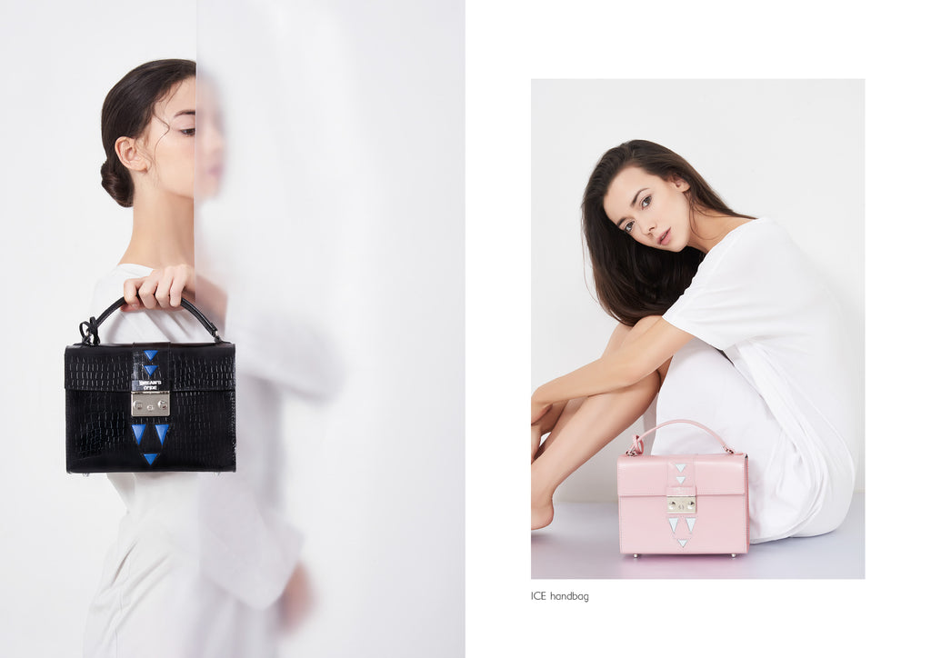 Dream's Code black and pink leather handbags both with triangle details