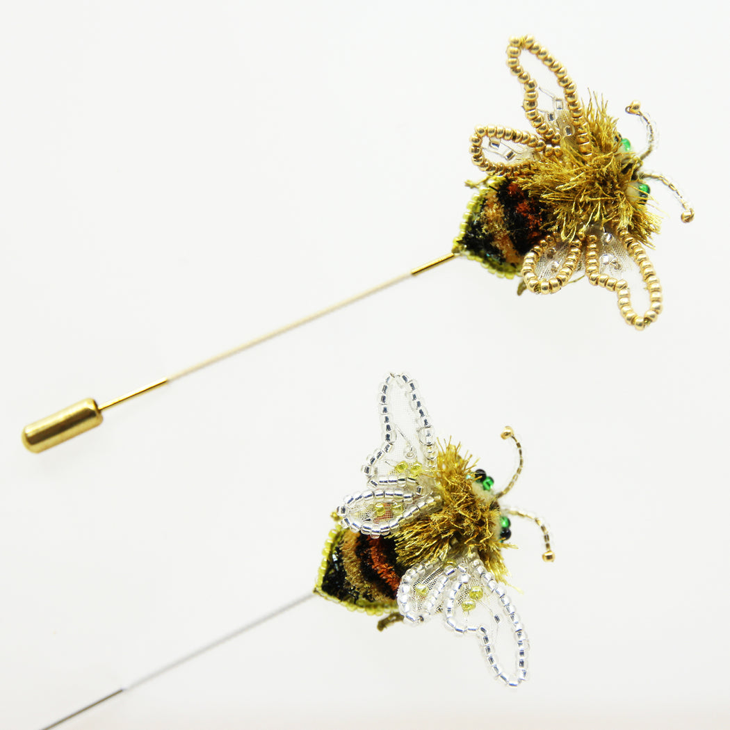 Hand Embroidery Bee Brooch