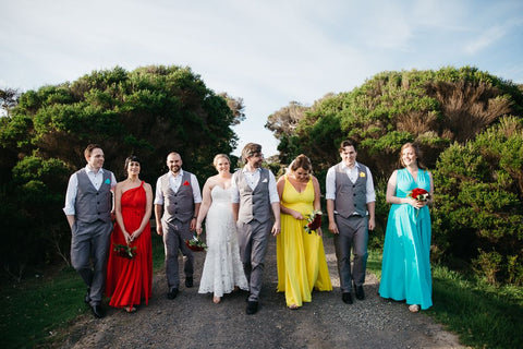 Claudia nad Jocs wedding outfits by the lioness and her unicorns