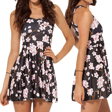 Cherry Blossom Black Reversible Skater Dress - The Deal Finder