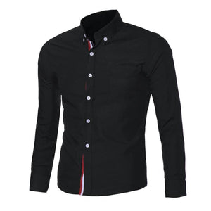 Mens Button Chemise Homme Slim Fit Long Sleeve Shirt - The Deal Finder