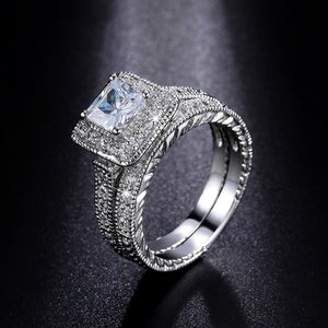 Princess Cut CZ 1.25CT Clear Bridal Set Women's Wedding Ring Band Gifts - The Deal Finder