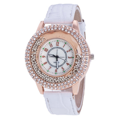 Luxury Leather Crystal Stone Dress Watch for Women - The Deal Finder