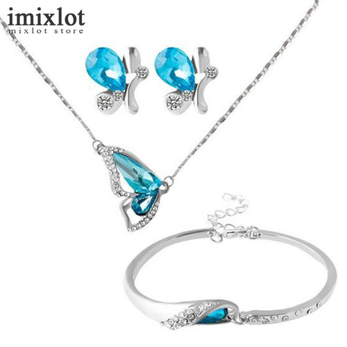 Imixlot Blue Crystal Butterfly Set - The Deal Finder