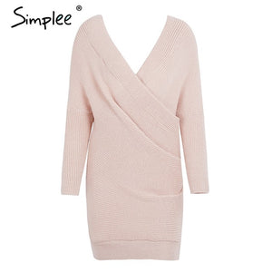 Sexy V-Neck Cross Knitting Sweater Dress - The Deal Finder