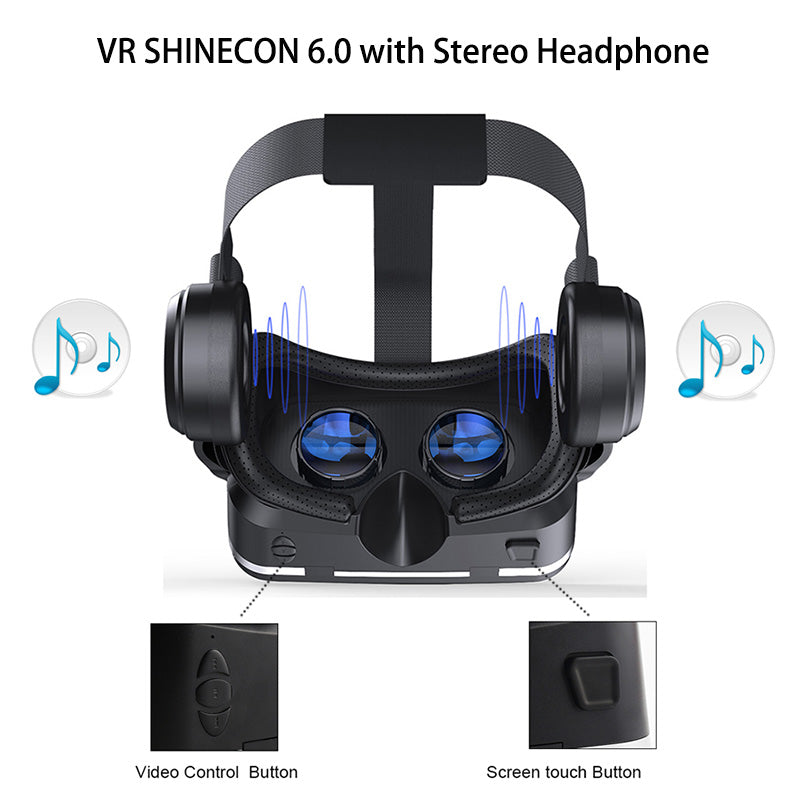 1bf7c81c8828 VR Shinecon 6.0 Headphone Version Google Cardboard 3D Virtual Reality  Glasses Headset Helmet Head Mount For