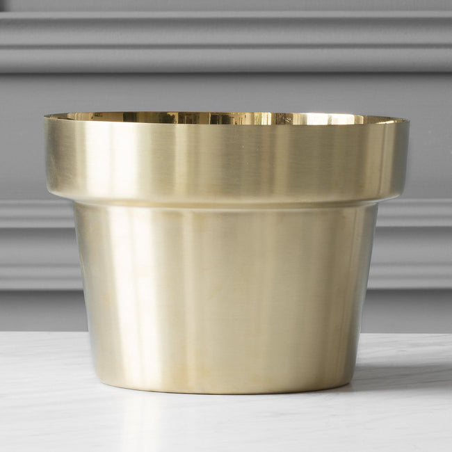 PLANT POT, AGED BRASS