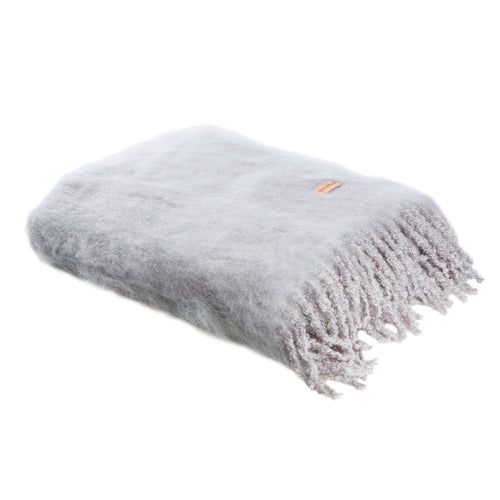 AURORA KID MOHAIR THROW - Silver Grey