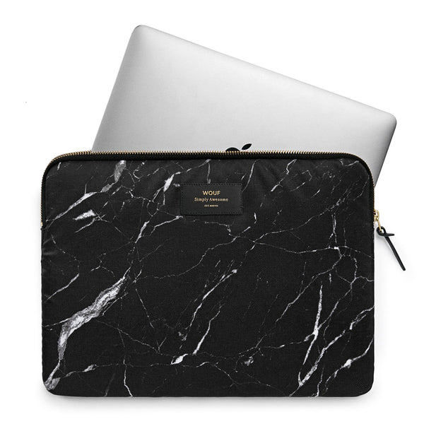 "LAPTOP CASE, 13"", BLACK MARBLE"