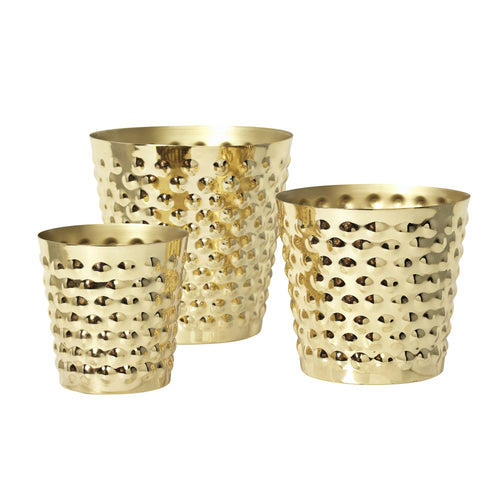 BUBBLES PLANT POT, BRASS, 3 PCS.