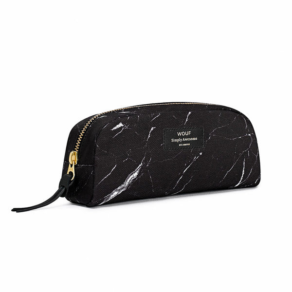 MAKEUP BAG, BLACK MARBLE