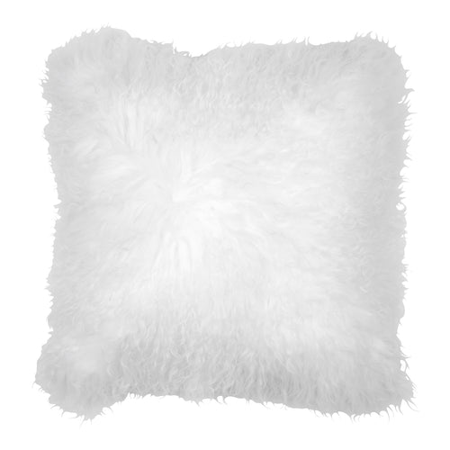FUYU DECORATIVE SHEEPSKIN PILLOW  40 x 40 cm, WHITE