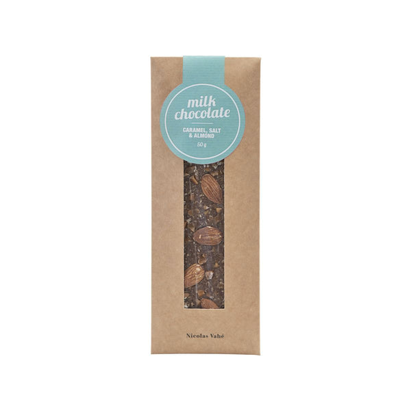 Milk Chocolate w/ Caramel, Salt & Almonds. 50 g