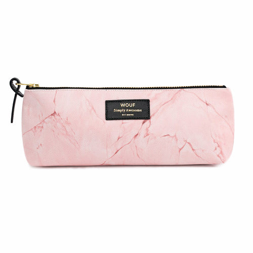 PENCIL CASE, PALE PINK MARBLE