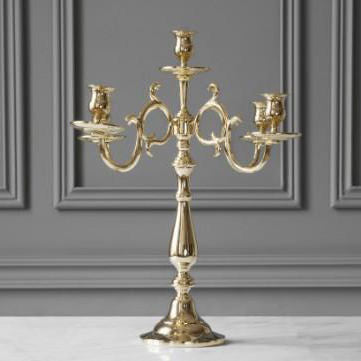 CANDELABRUM FOR 5 CANDLES, ROCOCO, BRASS