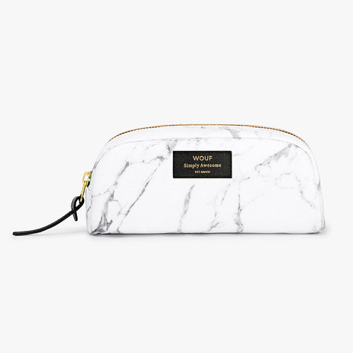 MAKEUP BAG, WHITE MARBLE