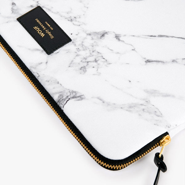 "LAPTOP CASE, 13"", WHITE MARBLE"