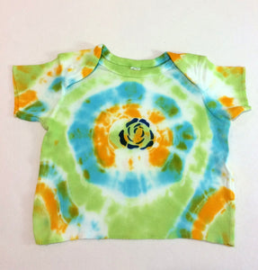 Infant short sleeve pull over tie dyed with flower by Rue   Lue 0010d2b27