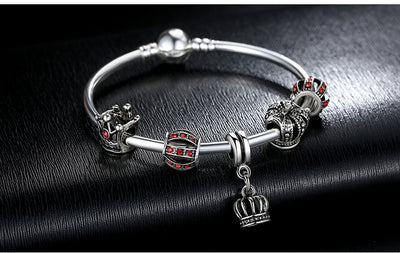 8872a8c4a ... Silver Charm Bangle & Bracelet with Royal Crown Pendant & Red Crystal  Ball